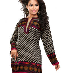 Brown and pink french jacquard printed kurti