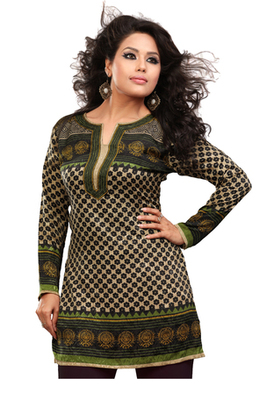 Brown and green french jacquard printed kurti