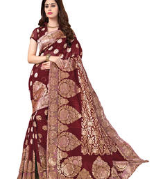 Buy Maroon woven banarasi saree With Blouse banarasi-silk-saree online
