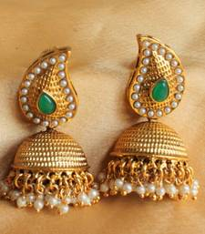 Buy GORGEOUS ANTIQUE UNIQUE PEARL GREEN JHUMKKA danglers-drop online