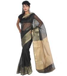 Buy Supernet Fancy Banarasi Border Aanchal Saree supernet-saree online