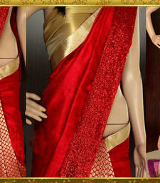 Buy red embroidered art silk sarees saree With Blouse party-wear-saree online