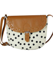 Buy Cream and black canvas printed sling bags sling-bag online