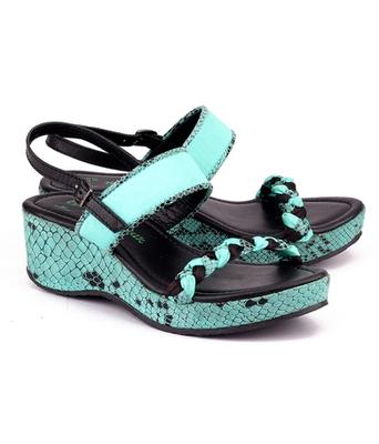 Celeste blue genuine leather footwear