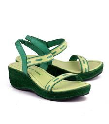 Buy Lime green genuine leather footwear wedges-shoe online