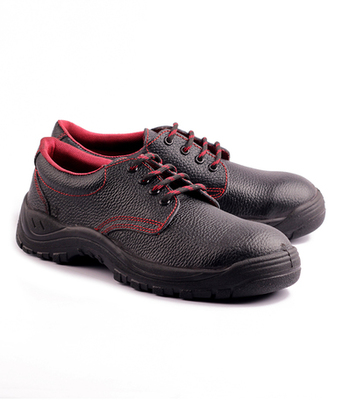 Black and red split leather footwear