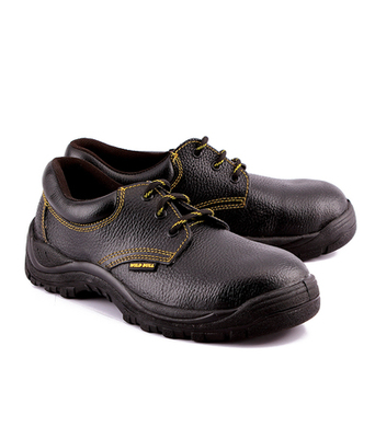 Black split leather footwear