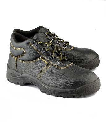 Black split leather footwear
