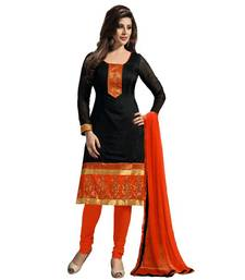 Buy Black embroidered chanderi cotton unstitched salwar with dupatta dress-material online