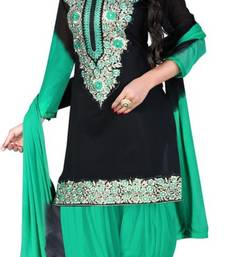 Buy Green and black embroidered chaderi unstitched salwar with dupatta dress-material online