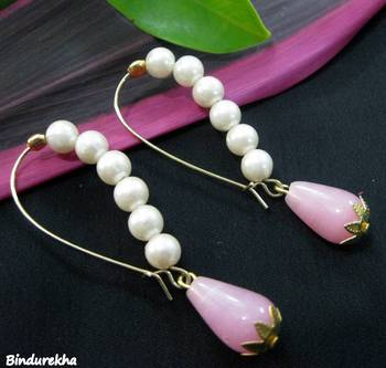 White_Pearls_Long_Hook_Pink_Drop