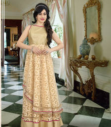Buy Beige brasso embroidered party wear gown readymade-suit online
