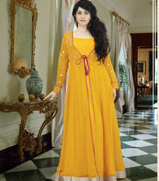 Buy Yellow georgette embroidered indian party wear gown party-wear-gown online