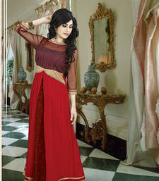 Buy Red georgette embroidered party wear gown readymade-suit online