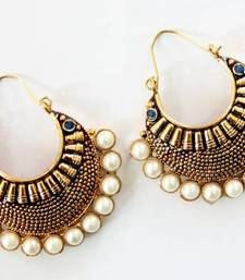 Buy ANTIQUE GOLD PLATED BLUE STONES BALI hoop online