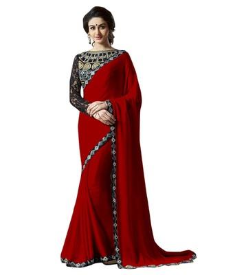 Satin saree by fabkaz (Red)