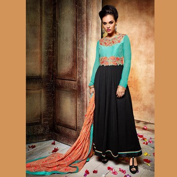 Black And Sea Green Georgette Embroidered Semi Stitched Salwar With Dupatta