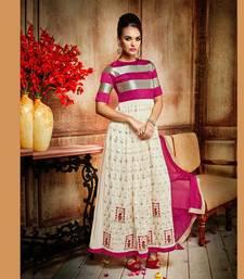 Buy Beige and hot pink silk embroidered semi stitched salwar with dupatta silk-salwar-kameez online