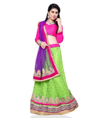 Green jacquard embroidered lehenga choli