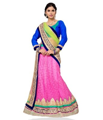 Pink Jacquard Embroidered Lehenga Choli