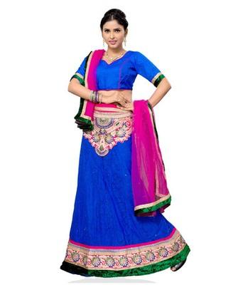 Blue jacquard embroidered lehenga choli