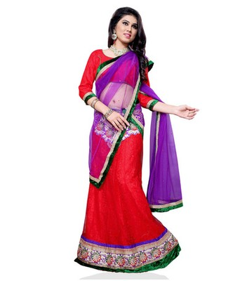 Red jacquard embroidered lehenga choli