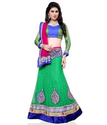 Green Jacquard Embroidered Lehenga Choli