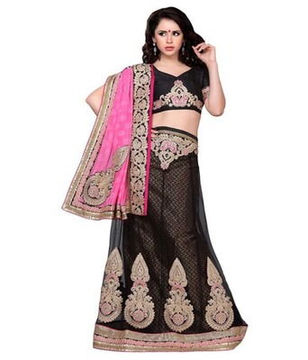 Black jacquard embroidered lehenga choli