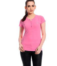 Buy Pink printed Cotton tops top online