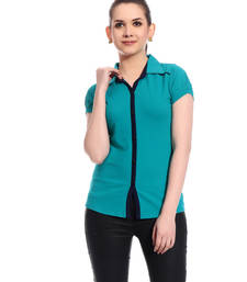 Buy Blue printed Cotton tops top online