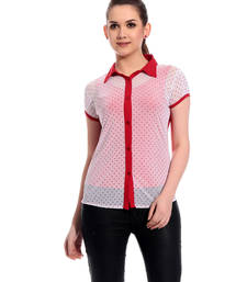 Buy Red printed Cotton tops chiffon-top online