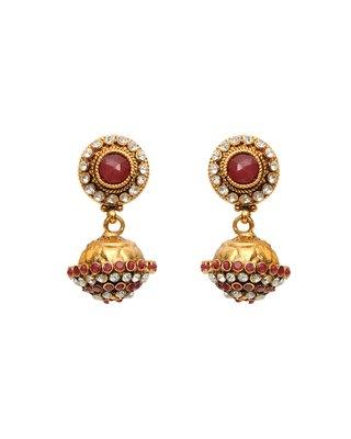 maroon jhumka ethnic earrings