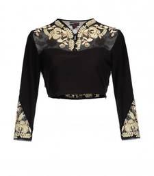 Buy silk unstitched blouse by fabkaz (Black) blouse-neck-design online