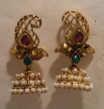 golden jhumka ethnic earrings
