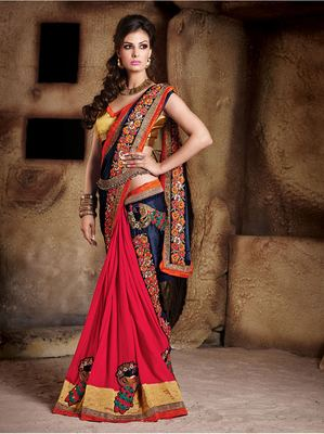 blue and red  embroidered satin saree with blouse