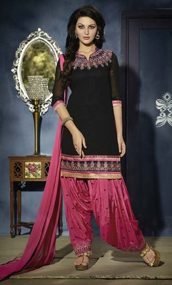 Black embroidered georgette unstitched salwar with dupatta