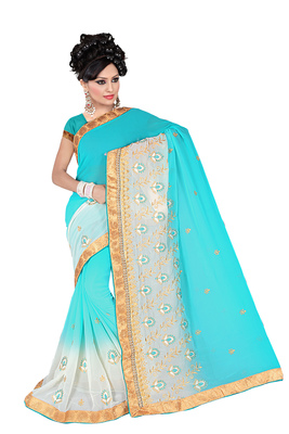 light_turquoise embroidered georgette saree With Blouse