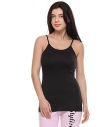 Buy Black plain cotton tops spaghetti-top online