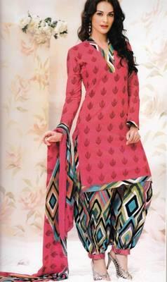 4743d256e1 Fabulous Peach Unstitched Cotton Dress Material With Chiffon Dupatta Suit  D.No 5504