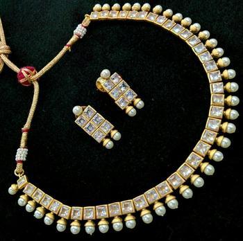 Gold Plated Cz White Stone Designer Necklace Set