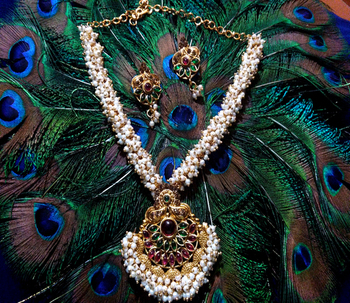 Gold Plated  Multicolor Kundhan With Pearl Necklace Set