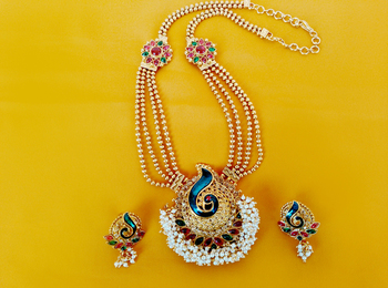 Gold Plated  Multicolor Necklace Set