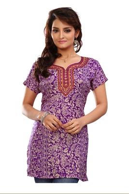 Purple french jacquard printed kurti