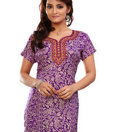 Purple french jacquard printed kurti