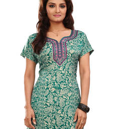 Green french jacquard printed kurti