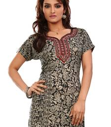 Black french jacquard printed kurti