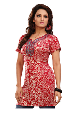 Red french jacquard printed kurti