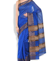 Buy blue woven chanderi saree With Blouse chanderi-saree online