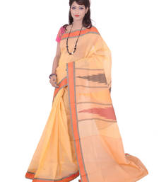 Buy yellow embroidered cotton saree With Blouse ikat-saree online