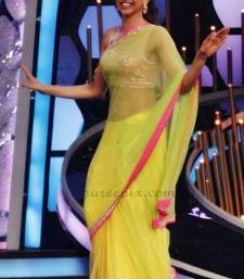 Buy Deepika Padukone Lime Yellow Bollywood Saree deepika-padukone-saree online